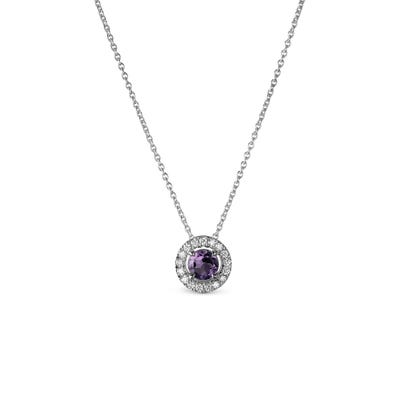 Purple Amethyst and Diamond Pendant mounted in Platinum