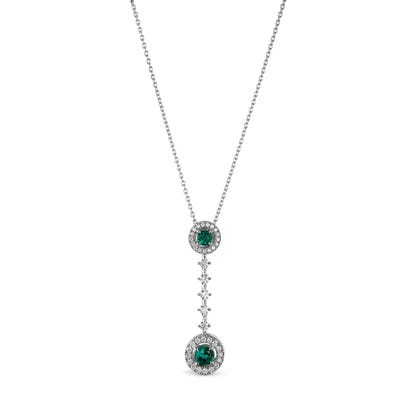 Emerald and Diamond Drop Pendant mounted in Platinum