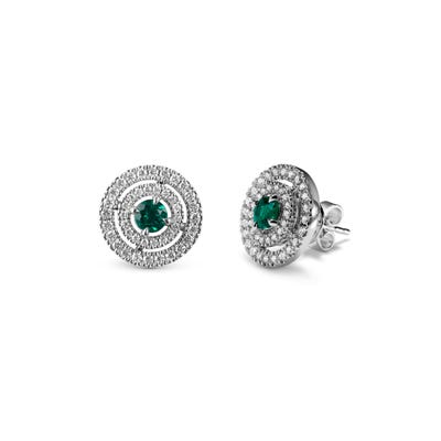 Emerald and Diamond Earrings mounted in Platinum