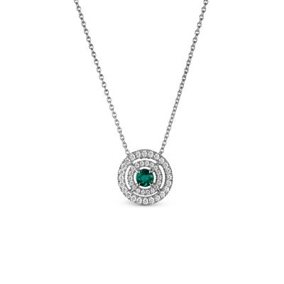 Emerald and Diamond Pendant mounted in Platinum