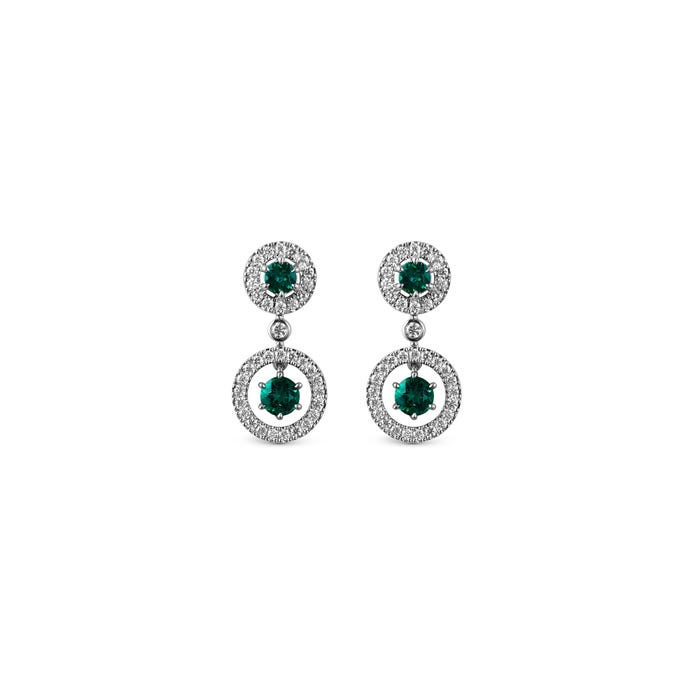 Emerald and Diamond Halo Earrings mounted in Platinum