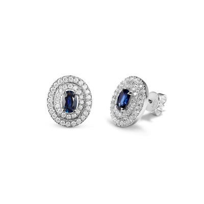 Oval Sapphire and Diamond Earrings mounted in Platinum