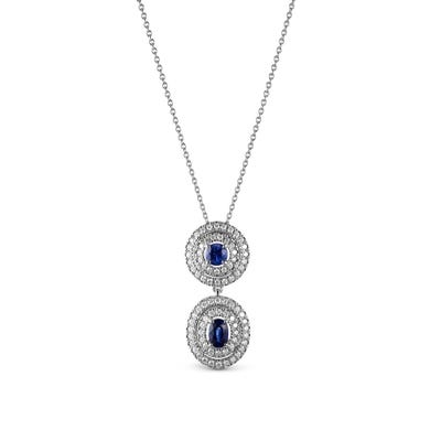 Oval and Round Sapphire and Diamond Pendant mounted in Platinum