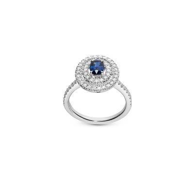 Oval Sapphire and Diamond Ring mounted in Platinum