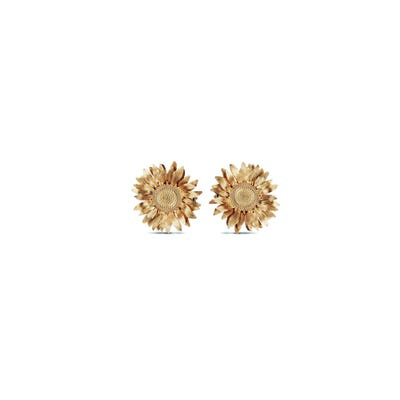 Sunflower Small Stud Earrings, Yellow Gold