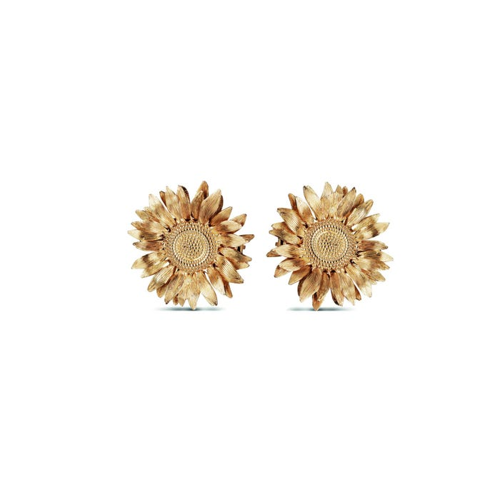 Sunflower Medium Stud Earrings, Yellow Gold