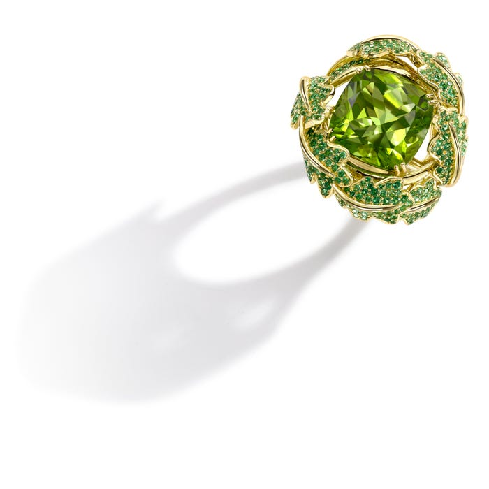 Oak Leaf Ring, Cushion Cut Peridot