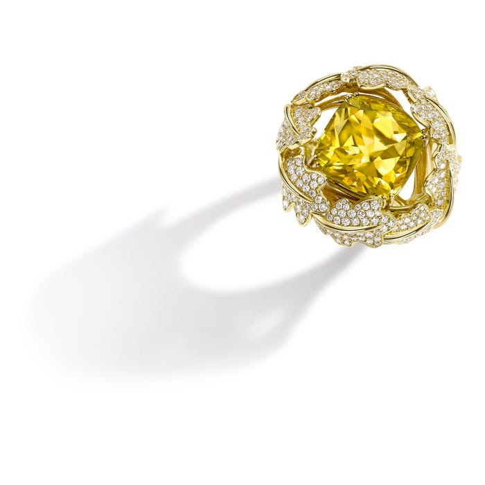 Oak Leaf Woodland Colour Ring 18ct Yellow Gold, Yellow