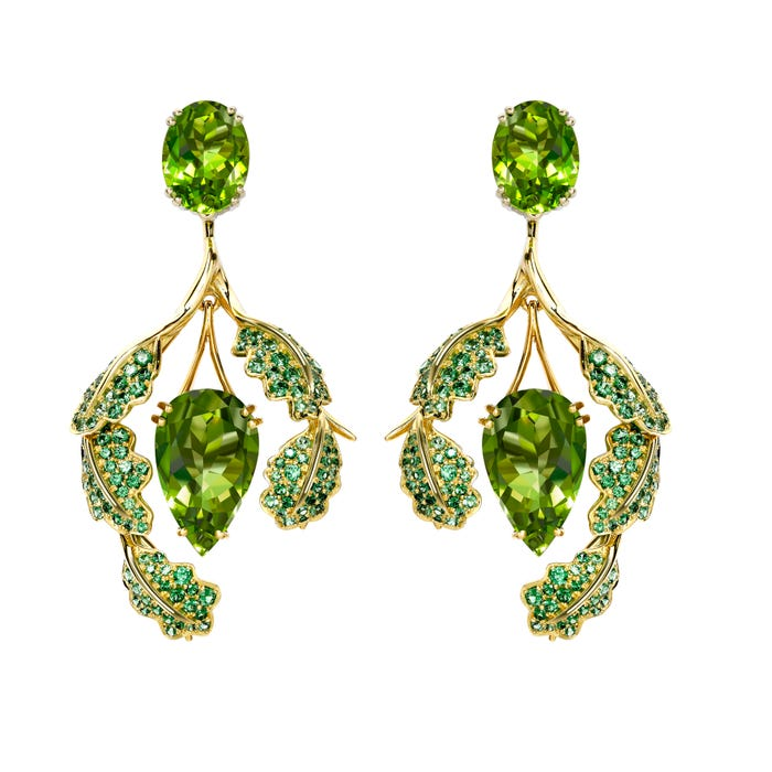 Oak Leaf Earrings, Peridot
