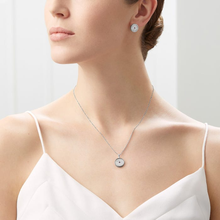 167 Button Pendant, White Gold