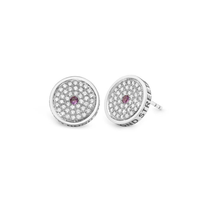 167 Button Earrings, White Gold