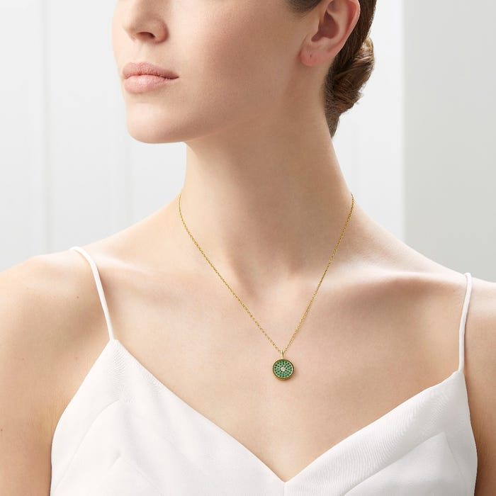 167 Button Pendant Emerald & Diamond, Yellow Gold