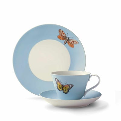 Butterfly Cup, Saucer & Plate, Blue
