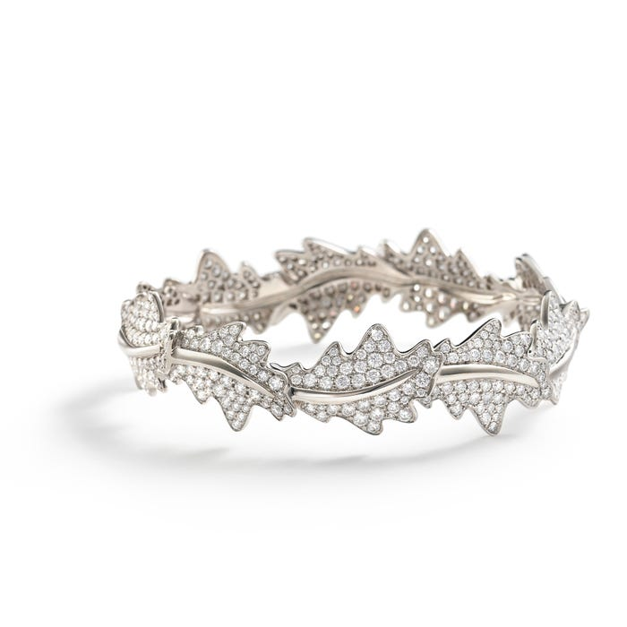 Oak Leaf Bangle Diamond, White Gold