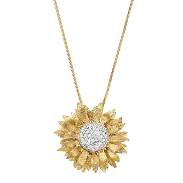 Sunflower Pendant/Brooch Diamond, Yellow Gold