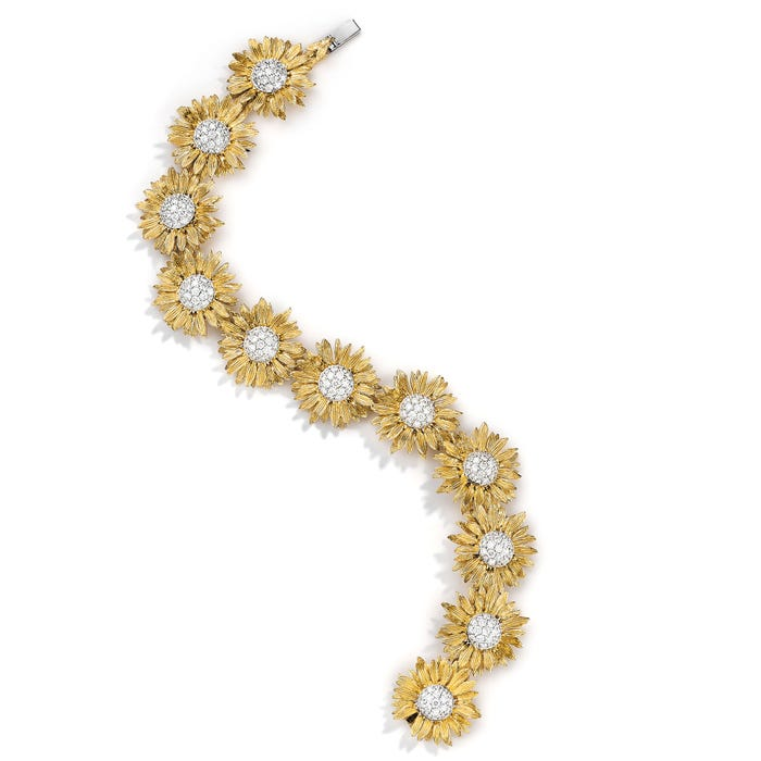Sunflower Bracelet Diamond, Yellow Gold
