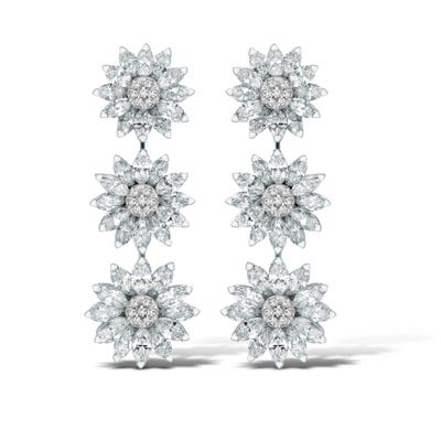 Daisy Heritage Drop Earrings, Diamond
