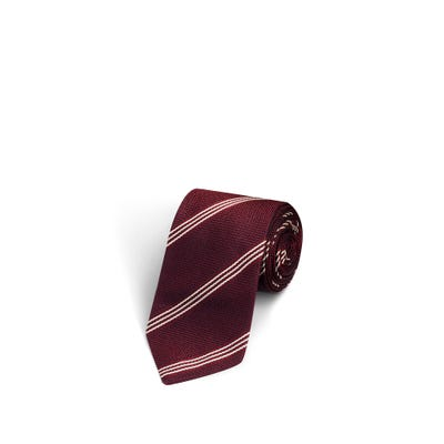 3 Stripes Dark Burgundy and Silver Tie