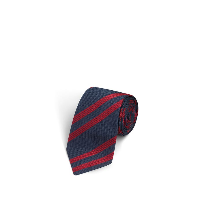 Large Stripes Navy and Red Tie