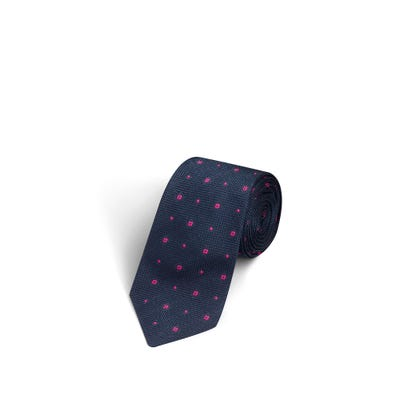 Flower and Dot Navy and Hot Pink Tie