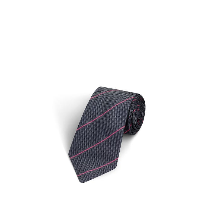 Fine Stripe Dark Grey and Light Pink Tie