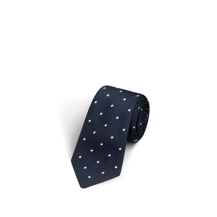 Large Dot Dark Navy and White Tie