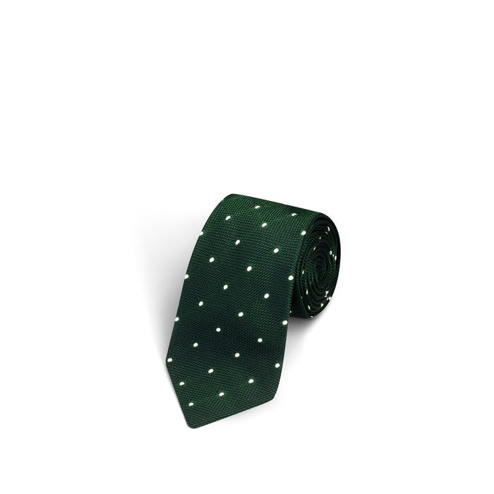 Large Dot Green and White Tie