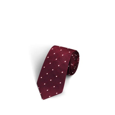 Large Dot Burgundy and White Tie