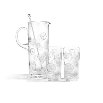 Engraved Pimm's Jug & Glasses, Clear