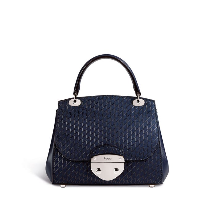 Belle Mini in Blueberry Cross Hatch Leather