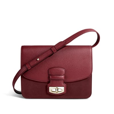 Wiltshire Shoulder Bag in Cranberry Bullskin & Nubuck
