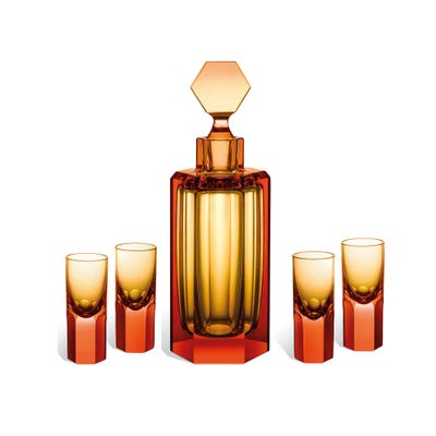 Hexagonal Liqueur Set, Amber