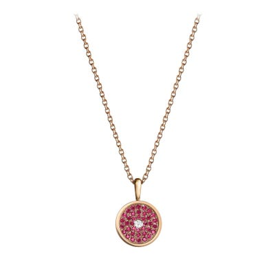 167 Button Pendant Ruby & Diamond, Rose Gold