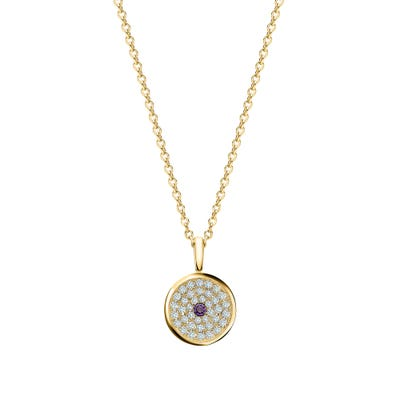 167 Button Pendant, Yellow Gold