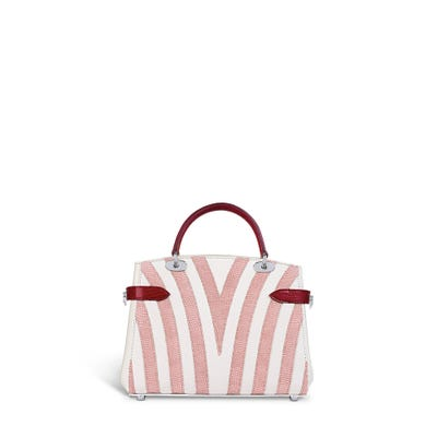Taylor Mini in Cabana Stripe White Bullskin & Rose Petal & Chilli Lizard