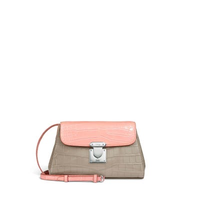 167 Pochette in Oyster & Rose Petal Crocodile