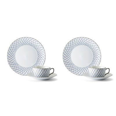 Crosshatch Cup, Saucer & Plate