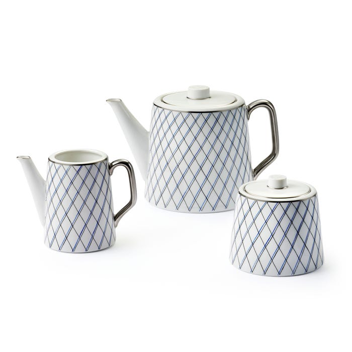 Crosshatch Teapot, Sugar Bowl & Creamer