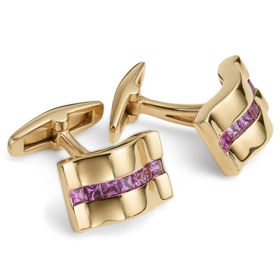 Pink Sapphire and Yellow Gold Cufflinks