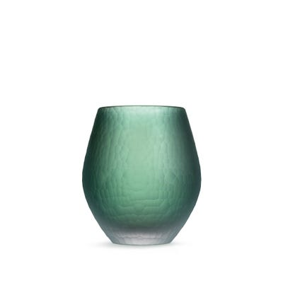 Hammered Crystal Vase, Green