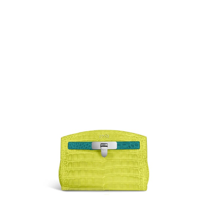 1781 Pochette in Lime & Malachite Crocodile