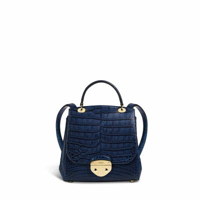Belle Backpack in Kashmir Blue Crocodile