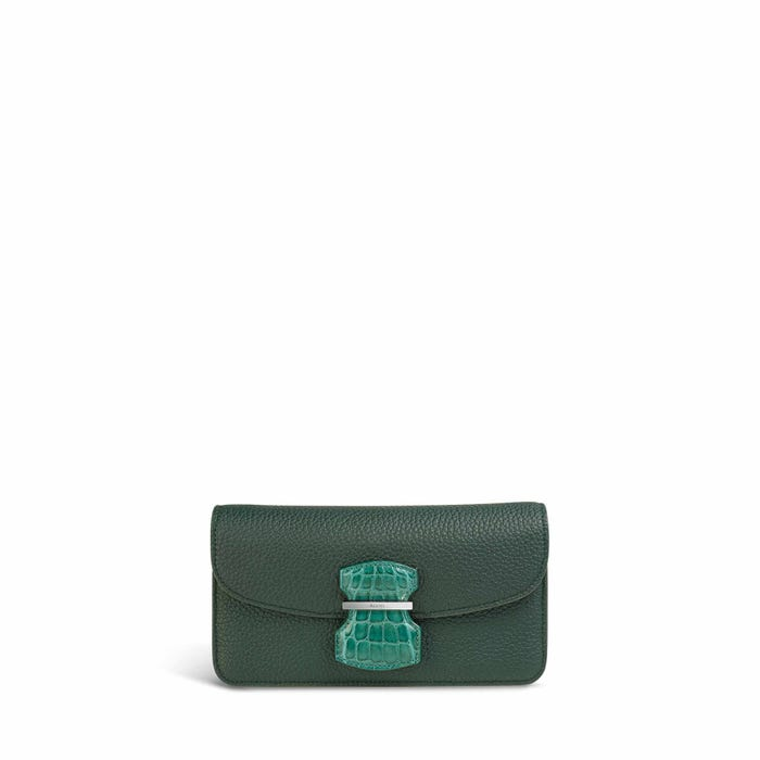 Wiltshire Pochette in Malachite Bullskin & Crocodile