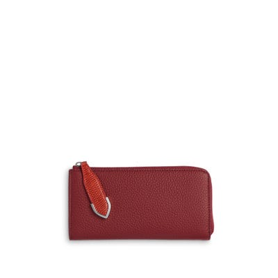 Taylor Zip Purse in Cranberry Bullskin & Flame Lizard