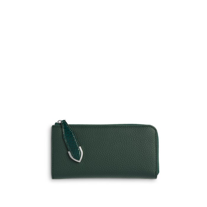 Taylor Zip Purse in Malachite Bullskin & Rangoon Python