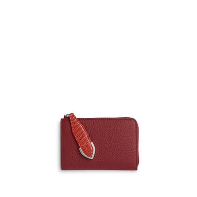 Taylor Small Zip Purse in Cranberry Bullskin & Flame Lizard
