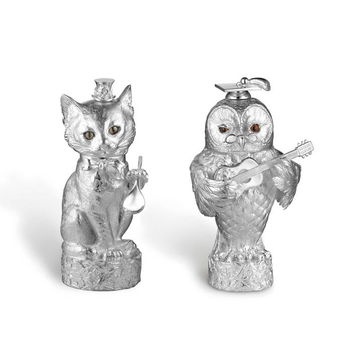 Owl & Pussy Cat Salt & Pepper Mills, Silver