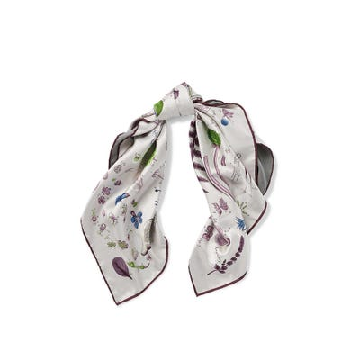 Botanical Silk Scarf, Light Grey Plum