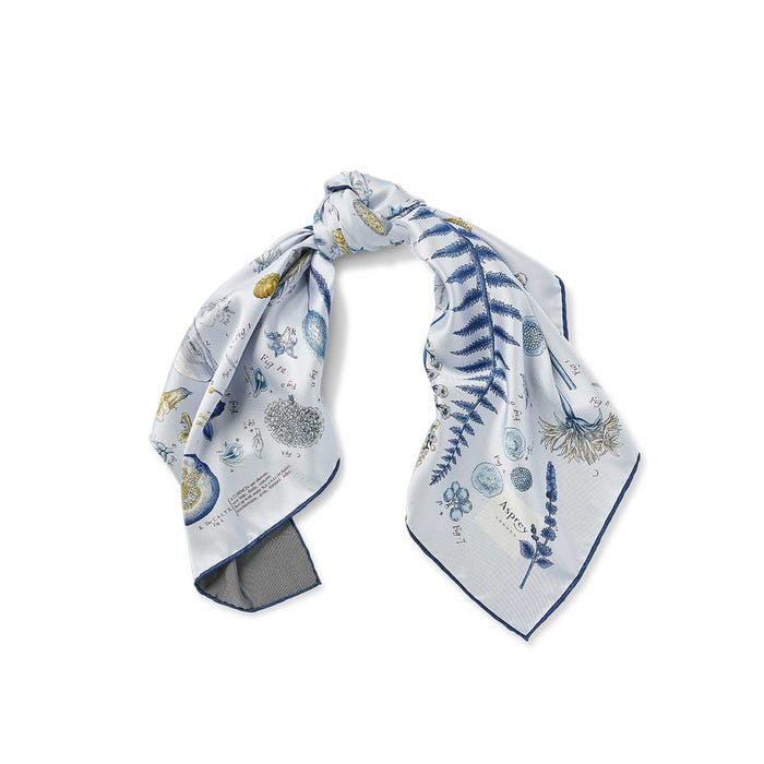 Botanical Silk Scarf, Sky Blue