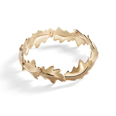 Oak Leaf Bangle, Yellow Gold